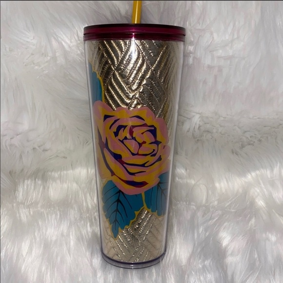 Starbucks Rose Silver Quilted Tumbler